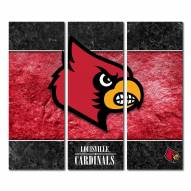 Louisville Cardinals Triptych Double Border Canvas Wall Art