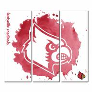 Louisville Cardinals Triptych Watercolor Canvas Wall Art
