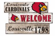 Louisville Cardinals Welcome 3 Plank Sign