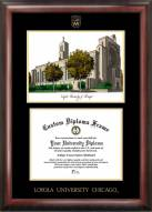 Loyola Chicago Ramblers Gold Embossed Diploma Frame with Lithograph