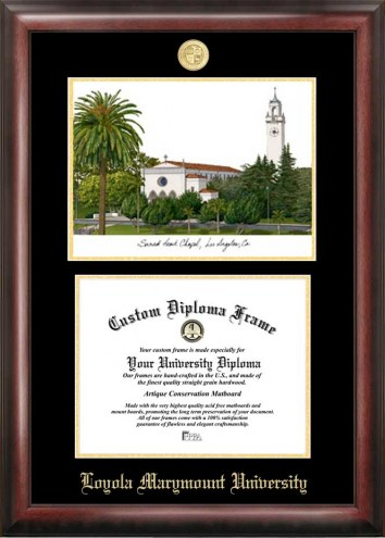 Loyola Marymount Lions Gold Embossed Diploma Frame with Lithograph