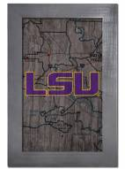 "LSU Tigers 11"" x 19"" City Map Framed Sign"