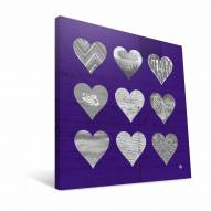"LSU Tigers 12"" x 12"" Hearts Canvas Print"