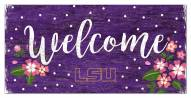 "LSU Tigers 6"" x 12"" Floral Welcome Sign"