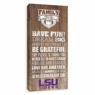 LSU Tigers Family Rules Icon Wood Printed Canvas