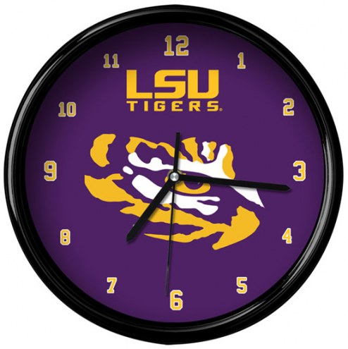 LSU Tigers Black Rim Clock