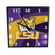 LSU Tigers Carbon Fiber Square Clock