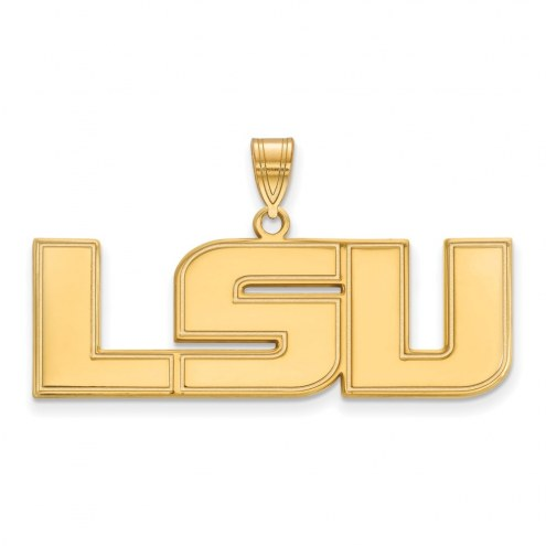 LSU Tigers College Sterling Silver Gold Plated Large Pendant