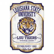 LSU Tigers College Vault Wood Sign