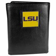 LSU Tigers Deluxe Leather Tri-fold Wallet in Gift Box