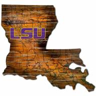 LSU Tigers Distressed State with Logo Sign