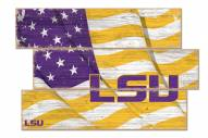 LSU Tigers Flag 3 Plank Sign