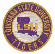 LSU Tigers Round State Wood Sign