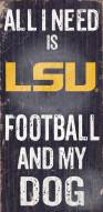 LSU Tigers Football & Dog Wood Sign