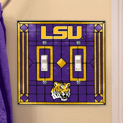 LSU Tigers Glass Double Switch Plate Cover