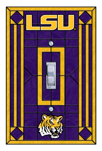 LSU Tigers Glass Single Light Switch Plate Cover