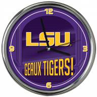 LSU Tigers Go Team Chrome Clock