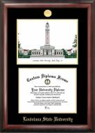 LSU Tigers Gold Embossed Diploma Frame with Campus Images Lithograph