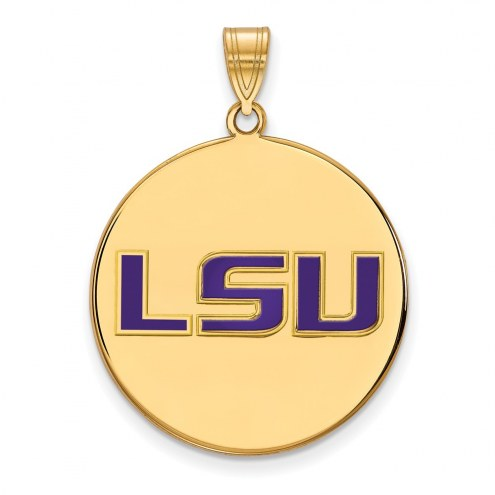 LSU Tigers Sterling Silver Gold Plated Extra Large Enameled Disc Pendant