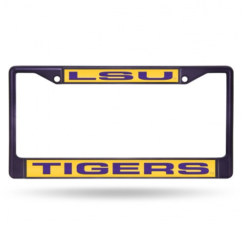 LSU Tigers Laser Colored Chrome License Plate Frame