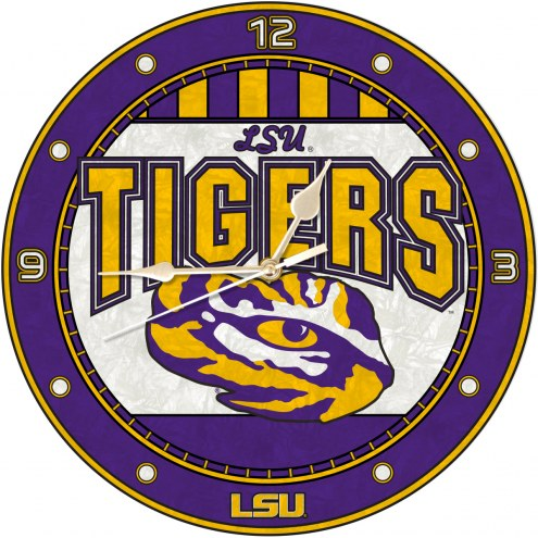 LSU Tigers NCAA Stained Glass Wall Clock