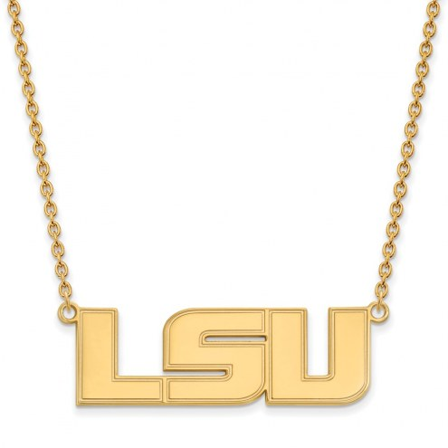 LSU Tigers NCAA Sterling Silver Gold Plated Large Pendant Necklace