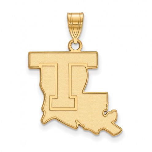 LSU Tigers NCAA Sterling Silver Gold Plated Large Pendant