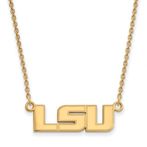 LSU Tigers NCAA Sterling Silver Gold Plated Small Pendant Necklace
