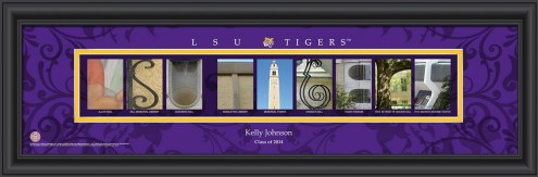 LSU Tigers Personalized Campus Letter Art