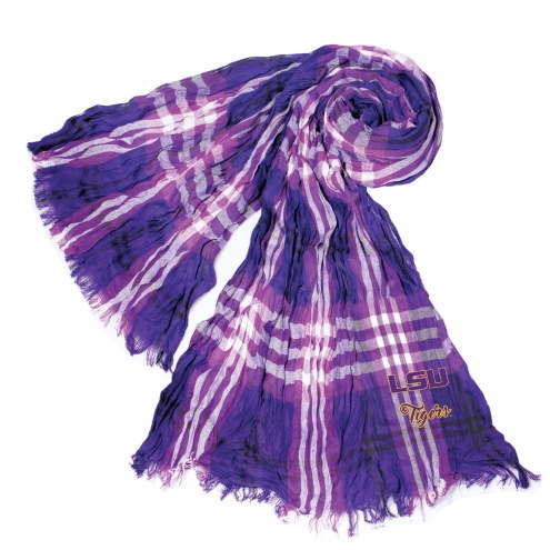 LSU Tigers Plaid Crinkle Scarf
