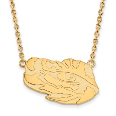 LSU Tigers Sterling Silver Gold Plated Large Pendant Necklace