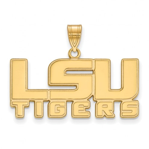 LSU Tigers Sterling Silver Gold Plated Medium Pendant