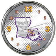 LSU Tigers State of Mind Chrome Clock