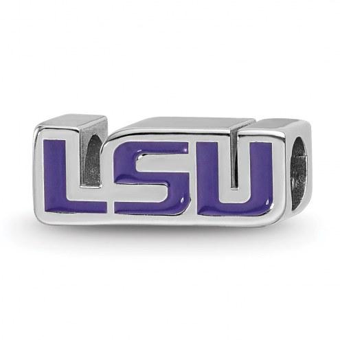 LSU Tigers Sterling Silver Enameled Bead