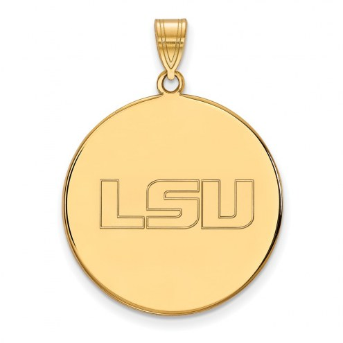 LSU Tigers Sterling Silver Gold Plated Extra Large Disc Pendant