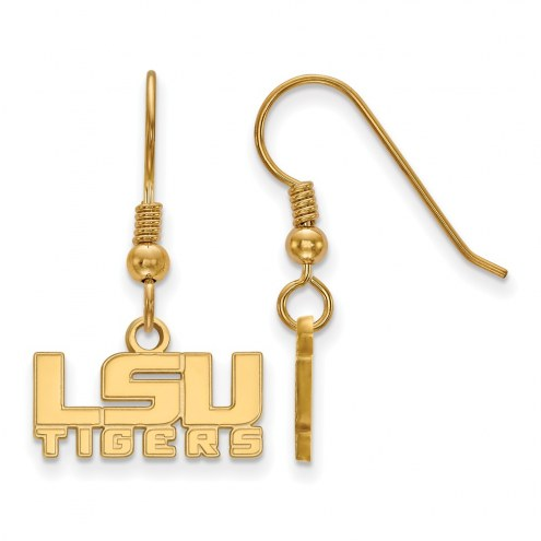 LSU Tigers Sterling Silver Gold Plated Extra Small Dangle Earrings