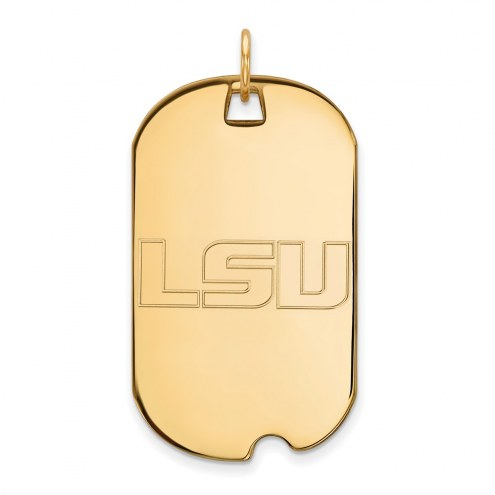 LSU Tigers Sterling Silver Gold Plated Large Dog Tag
