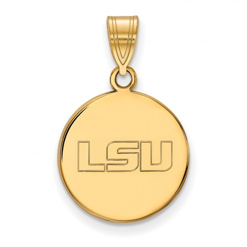 LSU Tigers Sterling Silver Gold Plated Medium Disc Pendant