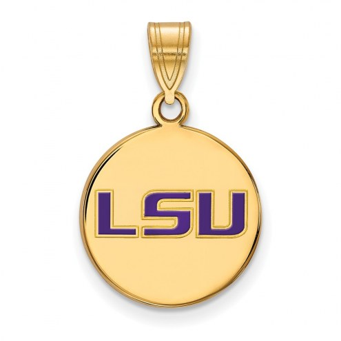 LSU Tigers Sterling Silver Gold Plated Medium Enameled Disc Pendant