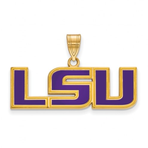 LSU Tigers Sterling Silver Gold Plated Medium Enameled Pendant