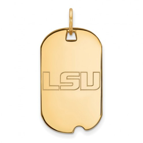 LSU Tigers Sterling Silver Gold Plated Small Dog Tag