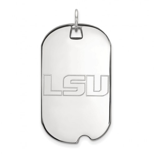 LSU Tigers Sterling Silver Large Dog Tag
