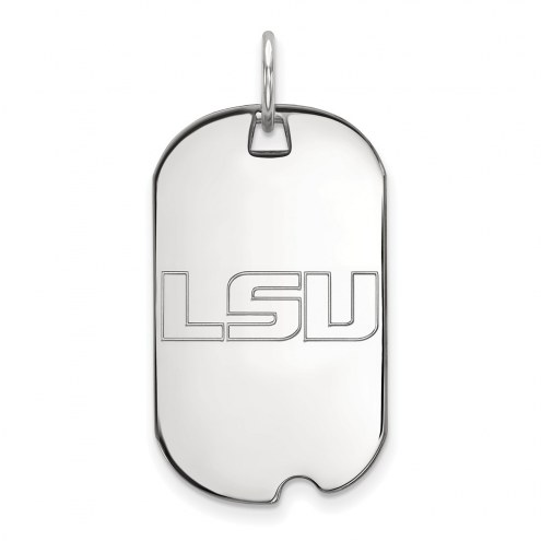 LSU Tigers Sterling Silver Small Dog Tag