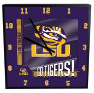 LSU Tigers Team Black Square Clock