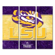 LSU Tigers Triptych Double Border Canvas Wall Art