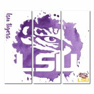 LSU Tigers Triptych Watercolor Canvas Wall Art