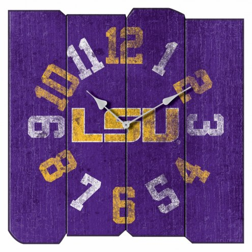 LSU Tigers Vintage Square Clock