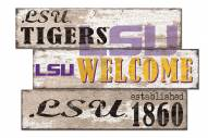 LSU Tigers Welcome 3 Plank Sign