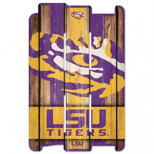 LSU Tigers Wood Fence Sign