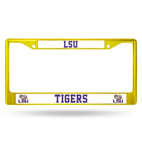LSU Tigers Yellow Colored Chrome License Plate Frame